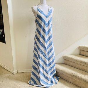 LOFT BEACH linen stripe maxi dress 14 chevron